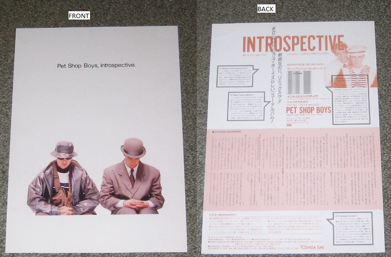 Pet Shop Boys - Introspective Promo Handbill